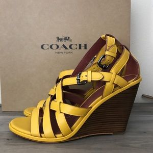 Coach Shoes - Coach Yellow Leather Wedges New 11